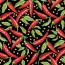 PiriPiri  Chilli  Sort - Voksdug med små røde chilier